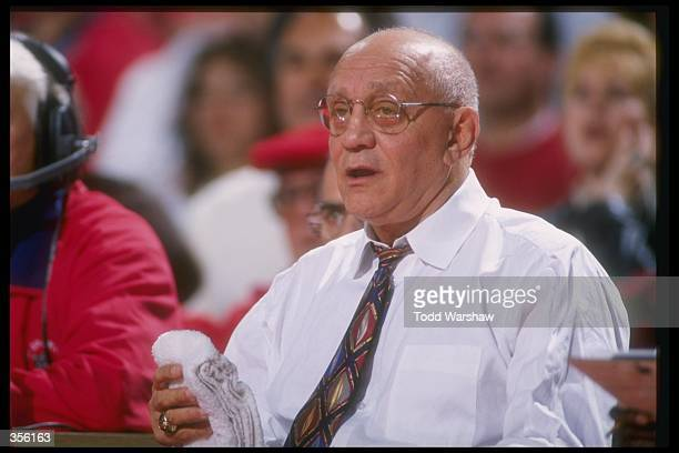 Fresno State Bulldogs head coach Jerry Tarkanian looks on during a game against the Santa Clara Broncos at Selland Arena in Fresno California Fresno...