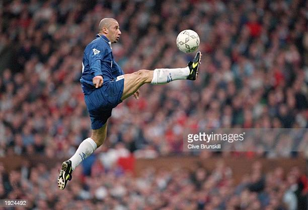 Gianluca Vialli of Chelsea traps the ball during the Carling Premiership match against Manchester United at Old Trafford Manchester Chelsea won the...