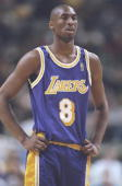 Guard Kobe Bryant of the Los Angeles Lakers stands on the court during a game against the Golden State Warriors at the San Jose Arena in San Jose...
