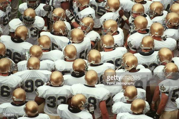 The University of Notre Dame prepare to take the field during the Fighting Irish 5427 Shamrock Classic win over Navy in Dublin Ireland Mandatory...