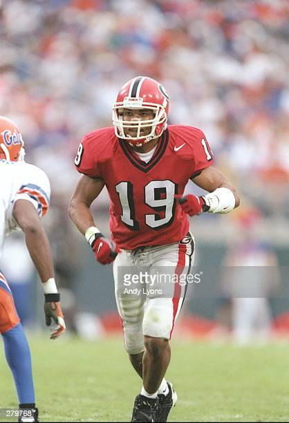 Wide receiver Hines Ward of the Georgia Bulldogs focuses on the defensive player across from him before beginning his pass pattern during a play in...