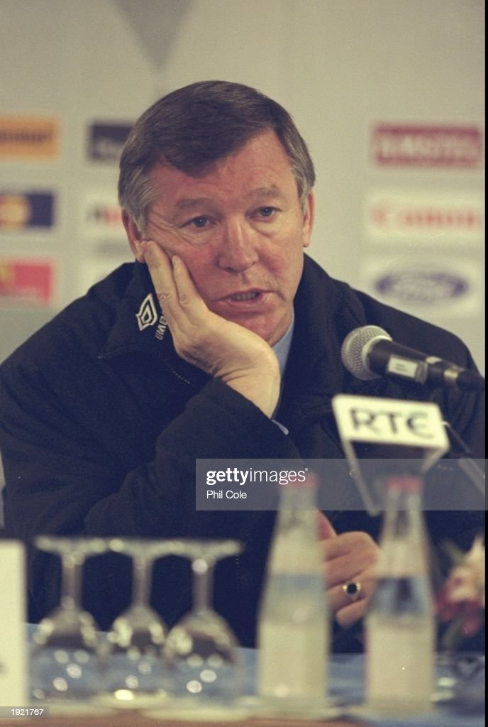 A portrait of Alex Ferguson the manager of Manchester United after the UEFA Champions League match against Feyenoord at the De Kuip Stadium in...