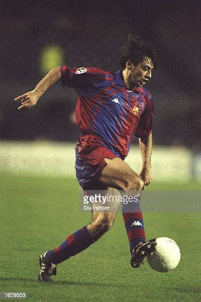 Albert Celades of Barcelona in action during the Champions League match against Newcastle United at the Nou Camp Stadium in Barcelona Spain Barcelona...