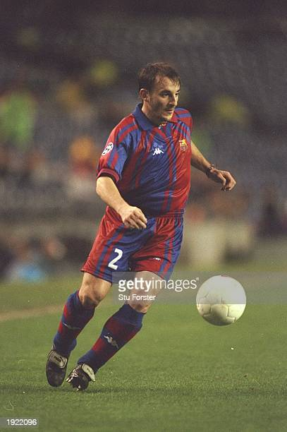 Albert Ferrer of Barcelona in action during the Champions League match against Newcastle United at the Nou Camp Stadium in Barcelona Spain Barcelona...