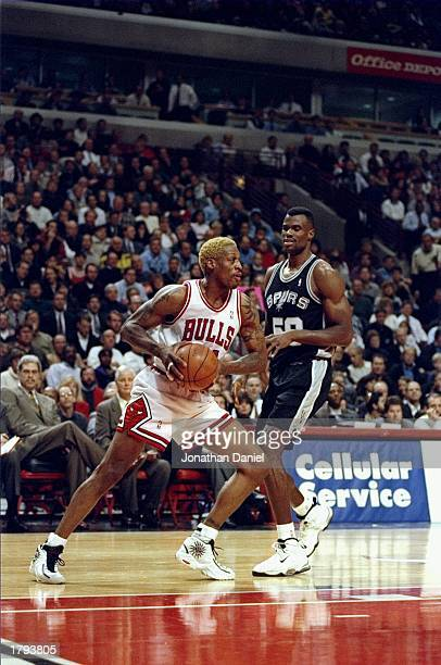 Dennis Rodman of the Chicago Bulls in action during the Bulls 8783 win over the San Antonio Spurs at the United Center in Chicago Illinois