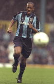 Dion Dublin of Coventry City in action during an FA Carling Premiership match against Leicester City at the Highfield Road Stadium in Coventry...