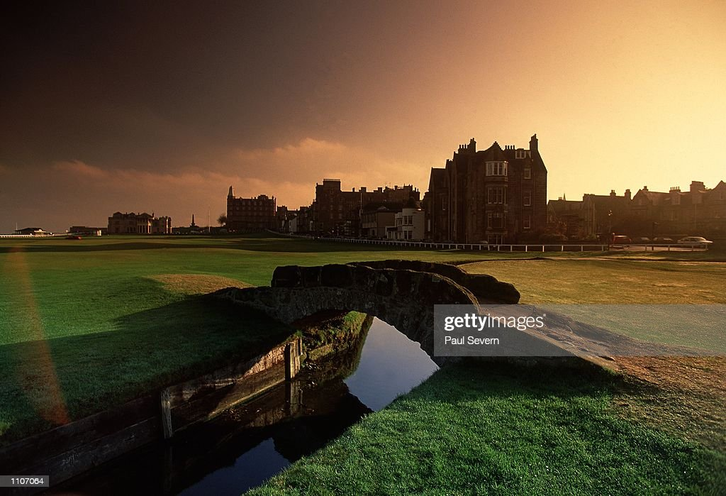 General view of the Swilken Bridge on the 18th hole of the Old Course at St Andrews in Fife Scotland Mandatory Credit Paul Severn /Allsport