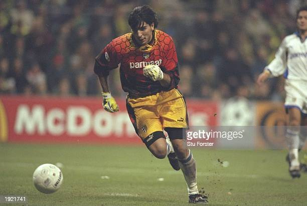 Gianluigi Buffon of Parma in action during the UEFA Champions League match against Borussia Dortmund at the Westfalenstadion in Dortmund Germany...