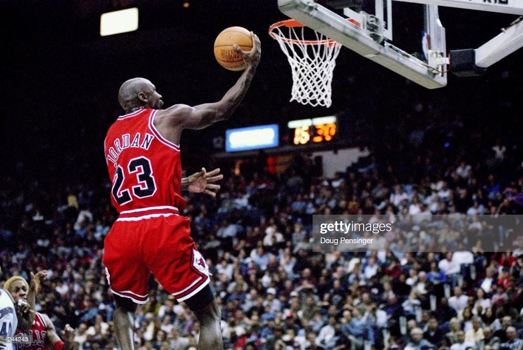 Guard <a gi-track='captionPersonalityLinkClicked' href=/galleries/search?phrase=Michael+Jordan+-+Basketball+Player&family=editorial&specificpeople=73625 ng-click='$event.stopPropagation()'>Michael Jordan</a> of the Chicago Bulls jumps to the basket during a game against the Washington Wizards at the US Airways Arena in Landover, Maryland. The Bulls won the game 88-83. Mandatory Credit: Doug Pensinger /Allsport