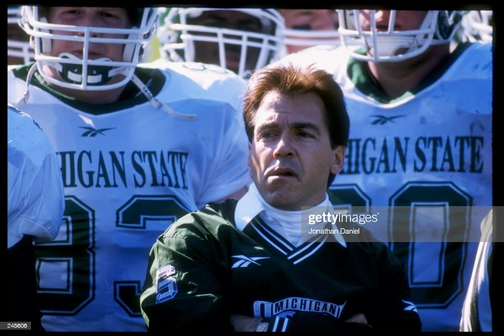 Head coach Nick Saban of the Michigan State Spartans looks on during a game against the Purdue Boilermakers at Ross Ade Stadium in Lafayette Indiana...