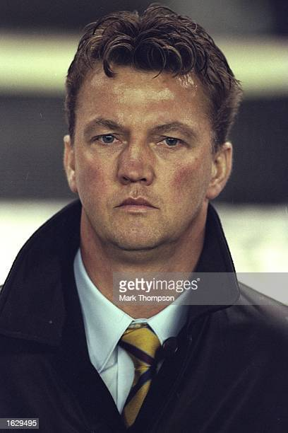 Portrait of Barcelona Coach Louis van Gaal during the Champions League match against Newcastle United at the Nou Camp Stadium in Barcelona Spain...