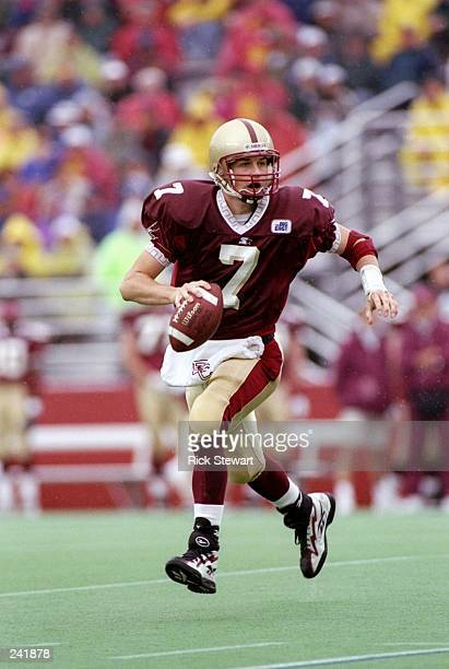 Quarterback Matt Hasselbeck of the Boston College Eagles scrambles with the ball during a game against the Pittsburgh Panthers at Alumni Stadium in...
