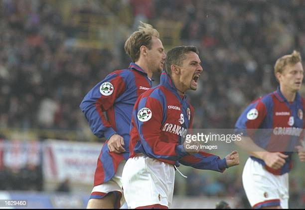 Roberto Baggio of Bologna celebrates scoring during the Serie A match against Napoli at the Stadio Renato Dall''ara in Bologna Italy Bologna won 51...