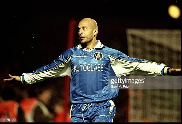 Chelsea player/manager Gianluca Vialli celebrates his goal during the Worthington Cup fourth round match against Arsenal at Highbury in London...