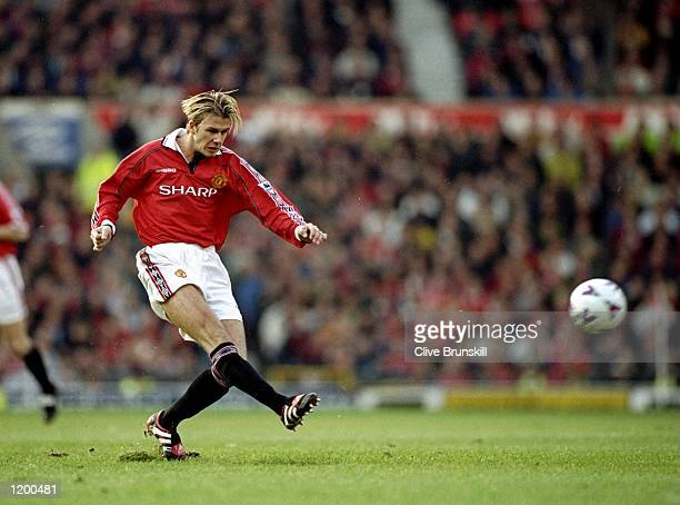 David Beckham of Manchester United in action during the FA Carling Premiership match against Newcastle played at Old Trafford in Machester England...