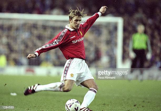 David Beckham of Manchester United in action during the FA Carling Premiership match against Sheffield Wednesday at Hillsborough in Sheffield England...