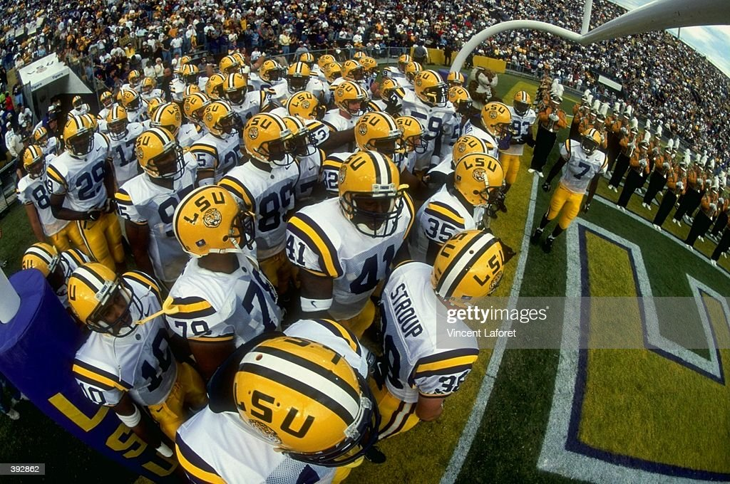 General view as members of the LSU Fighting Tigers prepare to enter the field prior to the game against the Alabama Crimson Tide at the Tiger Stadium...