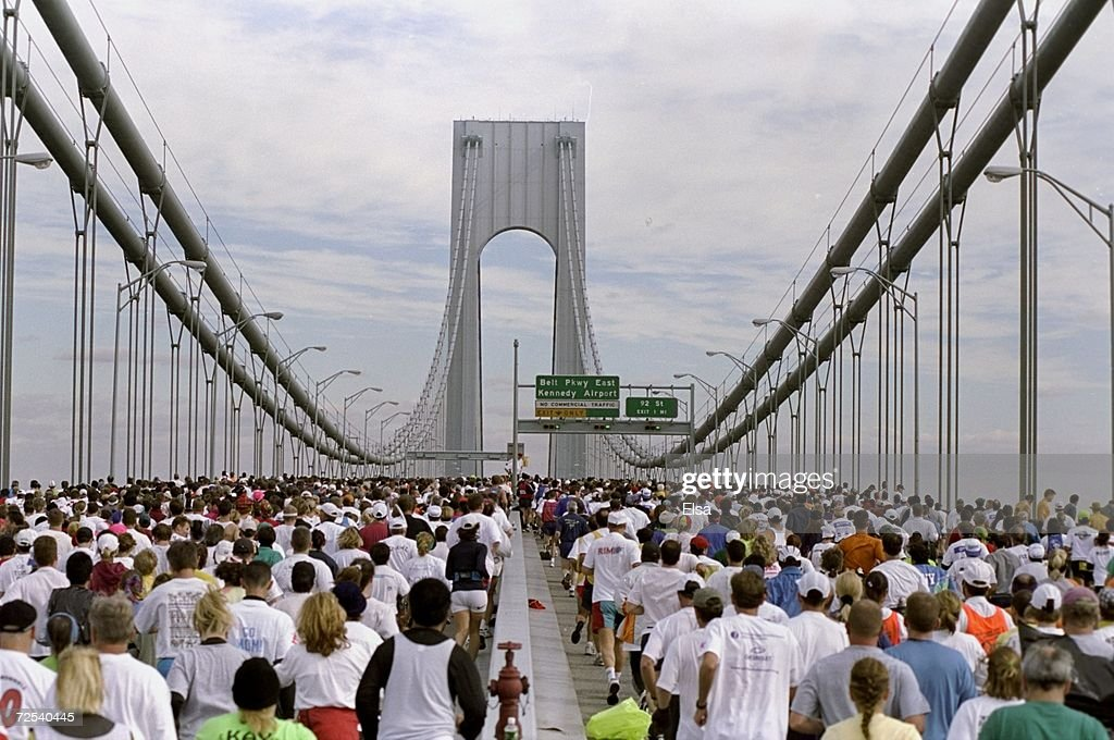 General view of the start of the New York City Marathon on the Verrazano-Narrows Bridge in New York City, New York. Mandatory Credit: Elsa Hasch /Allsport