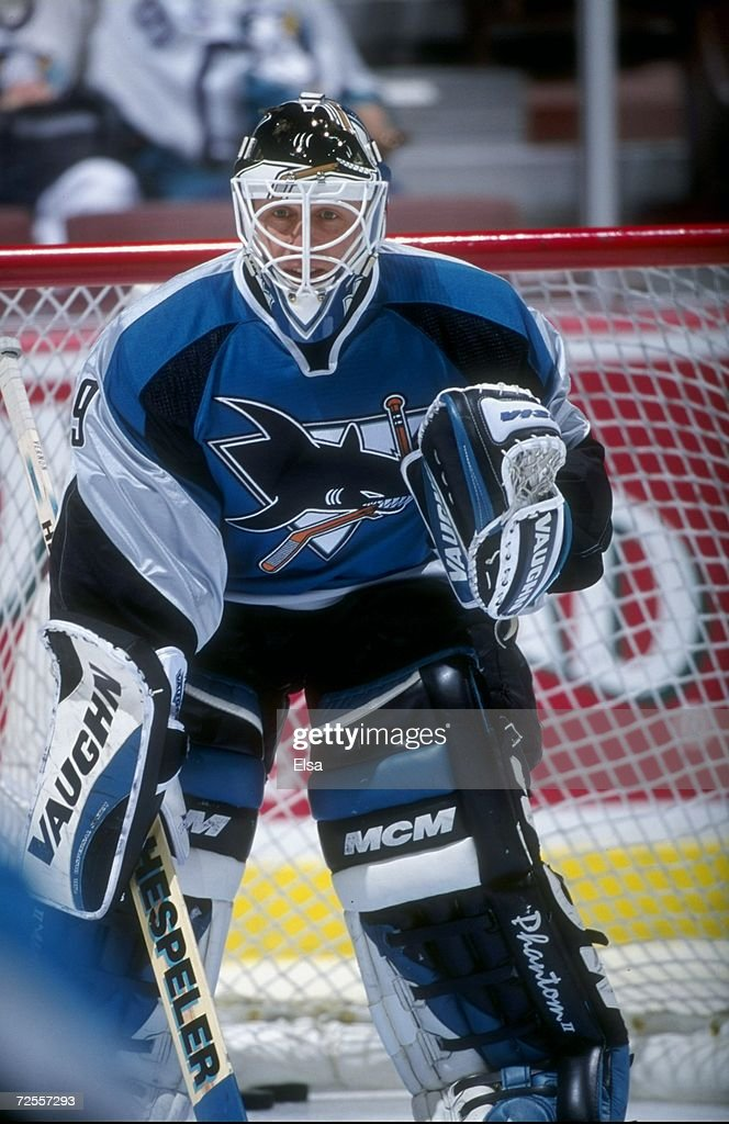Goaltender Mike Vernon of the San Jose Sharks in action during the game against the Anaheim Mighty Ducks at the Arrowhead Pond in Anaheim California...