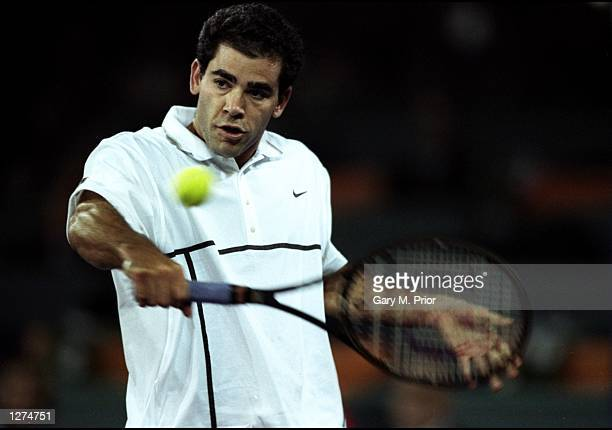 Pete Sampras of the USA hits a backhand during the ATP Tour World Championships at the EXPO 2000 Tennis Dome in Hannover Germany Mandatory Credit...