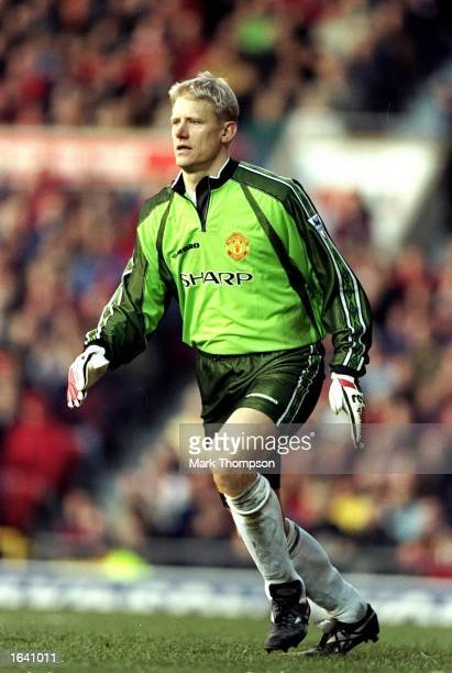 Peter Schmeichel of Manchester United in action during the FA CArling Premiership match against Leeds at Old Trafford in Manchester England...