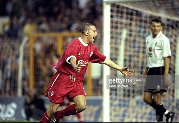 Sean Dundee of Liverpool celebrates his goal during the UEFA Cup 2nd Round match against Valencia played in Valencia Spain The match finished in a 22...