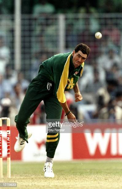 South Africa captain Hansie Cronje bowls during the Wills International Cup final against the West Indies at the Bangabandhu National Stadium in...