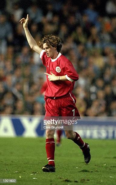 Steve McManaman of Liverpool celebrates his goal during the UEFA Cup 2nd round 2nd leg against Valencia played in Valencia Spain The match finished...