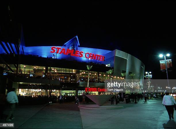 A general view of the exterior of the new Staples Center taken before a game between the Utah Jazz and the Los Angeles Lakers in Los Angeles...