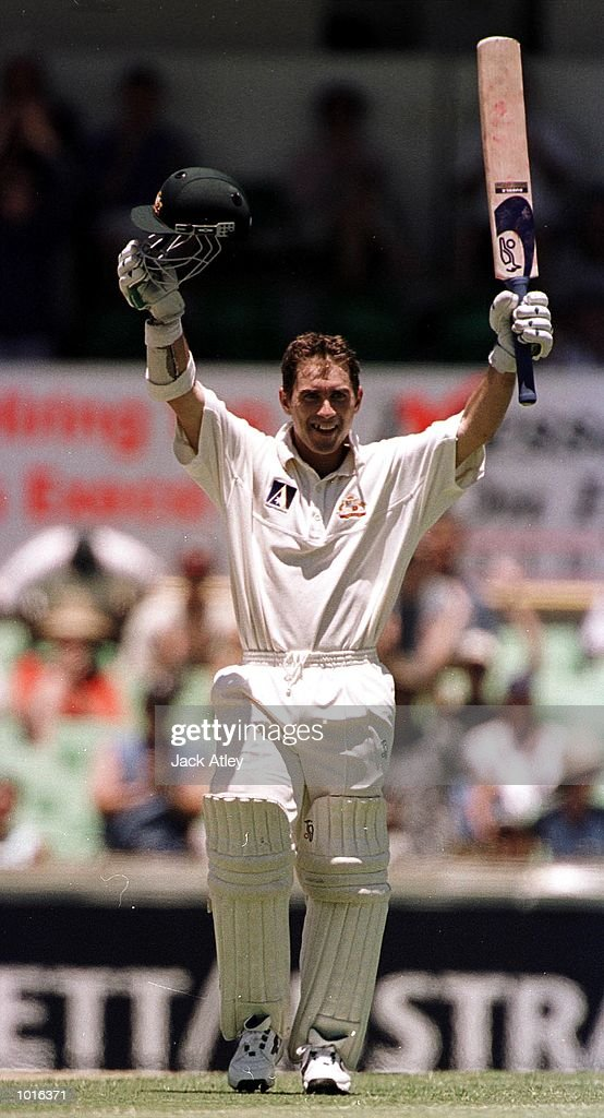 Australian batsman Justin Langer is jubilant after scoring a century , during day one of the third test played between Australia and Pakistan at the WACA ground in Perth, Western Australia, Australia. Mandatory Credit: Jack Atley/ALLSPORT