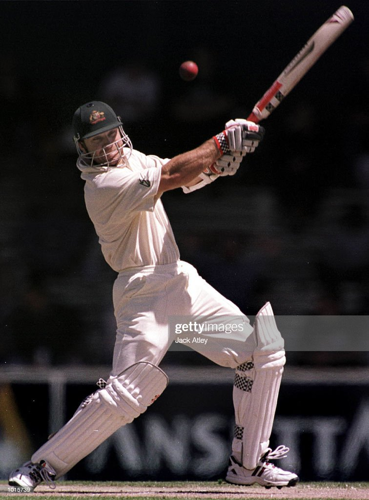 Australian batsman Michael Slater smashes one away to the boundry on his way to scoring ninety seven, during day two of the Second test between Australia and Pakistan at Bellerive Oval, Hobart, Australia. Mandatory Credit: Jack Atley/ALLSPORT