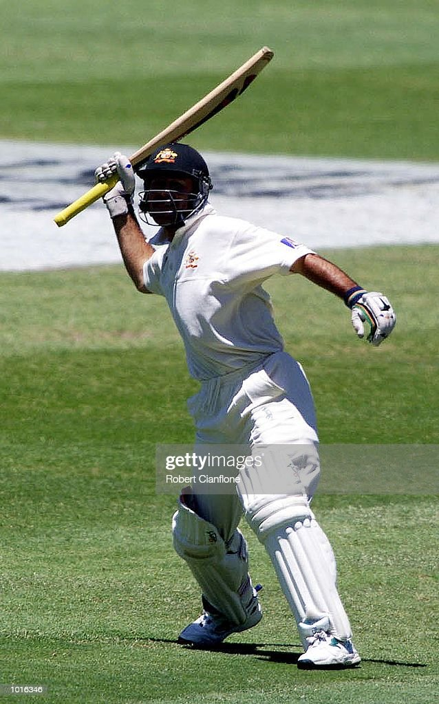 Australian batsman Ricky Ponting is jubilant after scoring a century , during day one of the third test played between Australia and Pakistan at the WACA ground in Perth, Western Australia, Australia. Mandatory Credit: Robert Cianflone/ALLSPORT