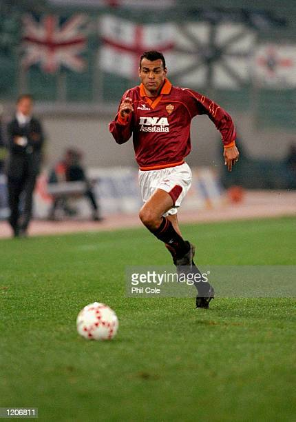 Cafu of AS Roma in action during the UEFA Cup Third Round First Leg match against Newcastle United at the Stadio Olympico in Rome Italy Roma won the...