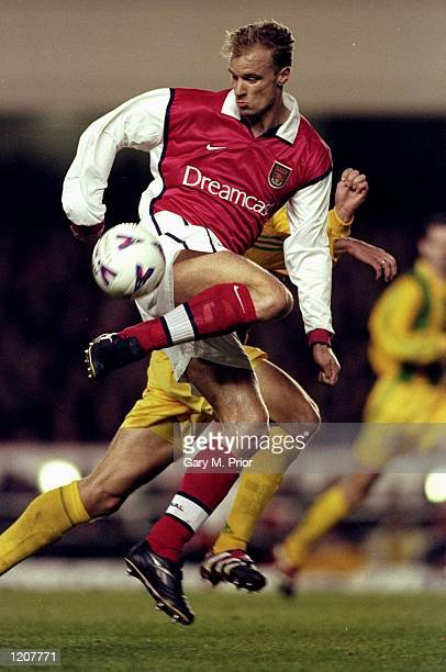 Dennis Bergkamp of Arsenal on the ball against Nantes during the UEFA Cup third round match at Highbury in London Arsenal won 30 Mandatory Credit...