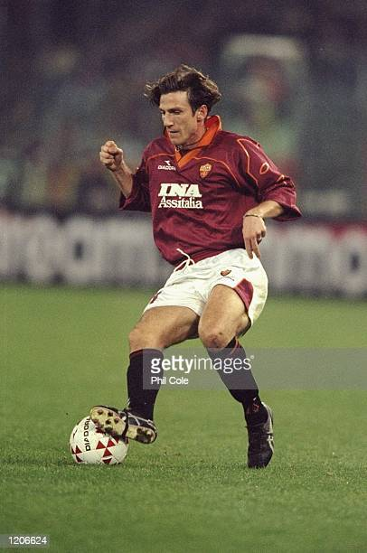 Eusebio Di Francesco of Roma on the ball against Newcastle United during the UEFA Cup third round first leg match at the Stadio Olimpico in Rome Roma...