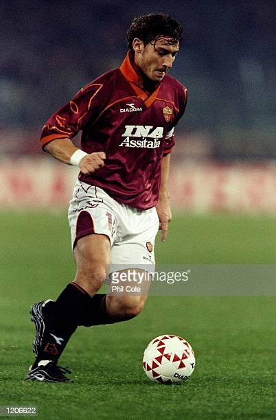 Francesco Totti of Roma in action against Newcastle United during the UEFA Cup third round first leg match at the Stadio Olimpico in Rome Roma won 10...