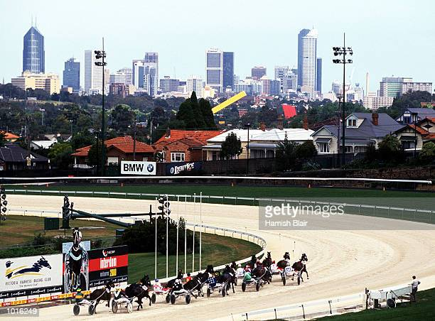 General View of Race Four Sew Eurodrive Handicap with the city of Melbourne in the background during the Harness Racing at Moonee Valley Melbourne...