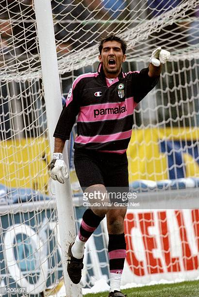 Gianluigi Buffon in goal for Parma against Cagliari during the Serie A match at the Stadio Tardini in Parma Italy Mandatory Credit Claudio Villa...