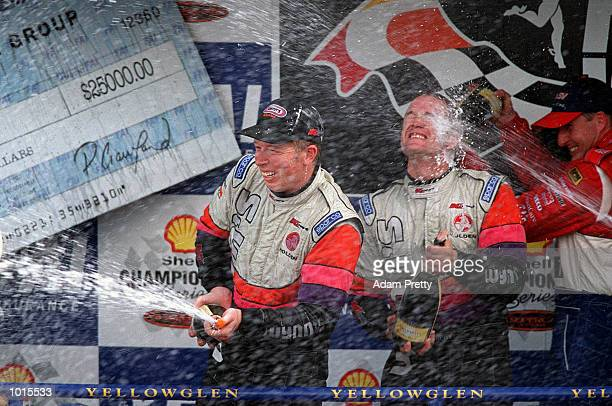 Greg Murphy and Steven Richards from the Wynn's Racing team celebrate after finishing first in the Bathurst FAI 1000 at Mount PanoramaBathurst...
