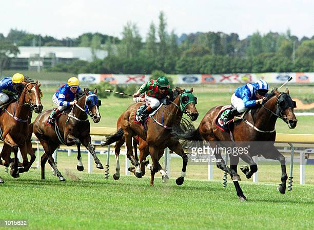 Jockey Brett Prebble on Taberann breaks clear of the pack and goes on to win the Eclipse Stakes at Sandown Racecourse Melbourne Australia Mandatory...