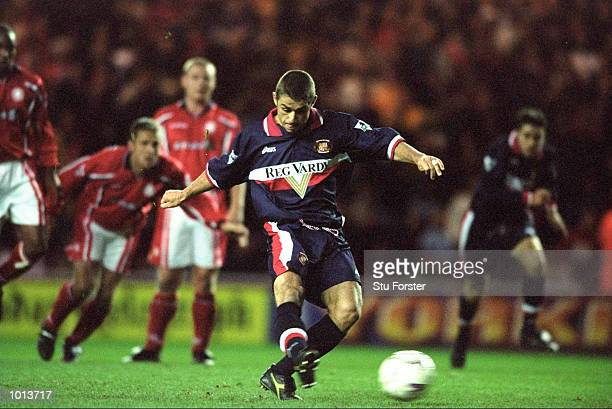 Kevin Phillips of Sunderland takes a penalty and misses during the FA Carling Premiership match against Middlesbrough played at the Cellnet Riverside...