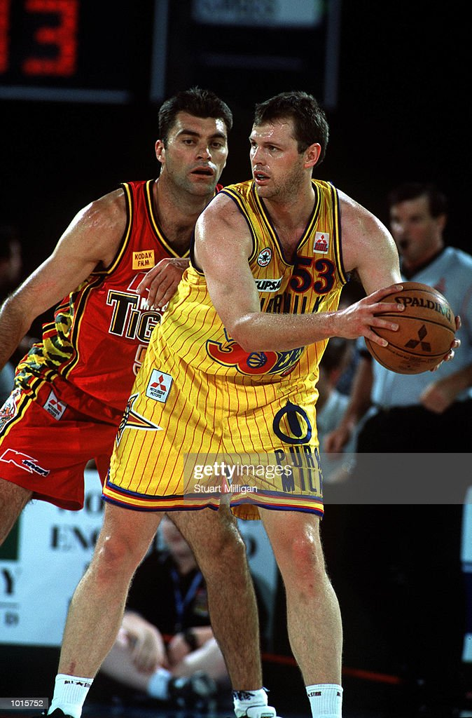 Mark Bradtke of Melbourne Tigers defends Paul Rees of Adelaide 36ers during the NBL match between Melbourne Tigers v Adelaide 36ers at Melbourne park,Melbourne Australia. Adelaide won 104-84. Mandatory Credit: Stuart Milligan/ALLSPORT