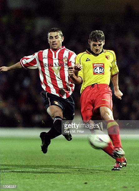 Mark Williams of Watford is challenged by Kevin Phillips of Sunderland during the FA Carling Premiership match at Vicarage Road in Watford England...