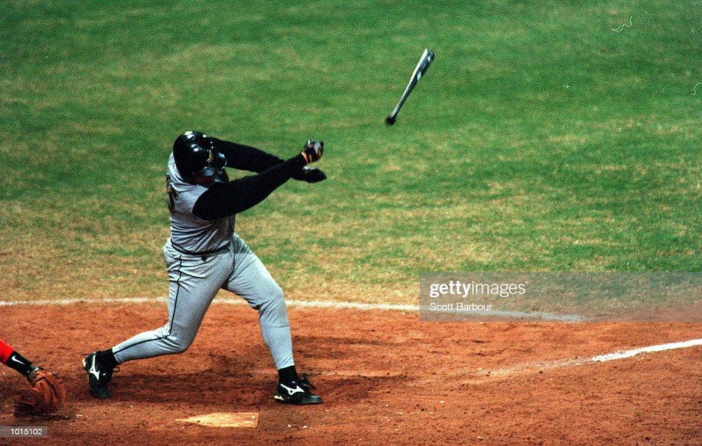 Michael Moyle of Australia loses grip on his baseball bat as Australia defeat Cuba 4-3 during the IBA Intercontinental Baseball Cup final at the Baseball Stadium, Olympic Park, Homebush, Sydney, Australia. Mandatory Credit: Scott Barbour/ALLSPORT