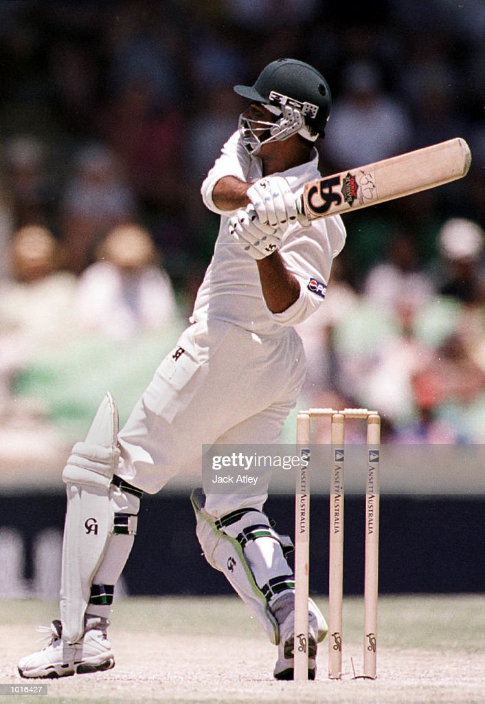 Pakistan batsman Ijaz Ahmed smashes one to the boundry on his way to scoring a century, during day three of the third test played between Australia and Pakistan at the WACA ground in Perth, Western Australia, Australia. Mandatory Credit: Jack Atley/ALLSPORT