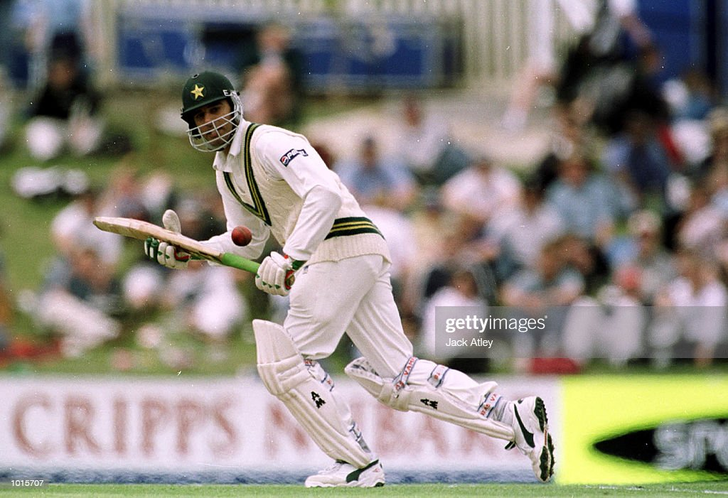 Pakistan batsman Mohammad Wasim hits one to the boundry on his way to a score of ninety one, on the first day of the of the second test match between Australia and Pakistan at Bellerive Oval,Hobart, Tasmania. Mandatory Credit: Jack Atley/ALLSPORT