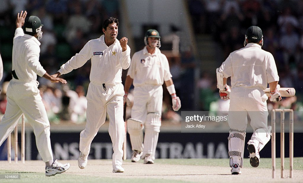 Pakistan fast bowler Wasim Akram lets Australian batsman Michael Slater know that he is out after trapping him in front leg before wicket for no score, during day one of the third test played between Australia and Pakistan at the WACA ground in Perth, Western Australia, Australia. Pakistan were all out today for 155 runs. Australia finished the day on 171 runs for four wickets Mandatory Credit: Jack Atley/ALLSPORT