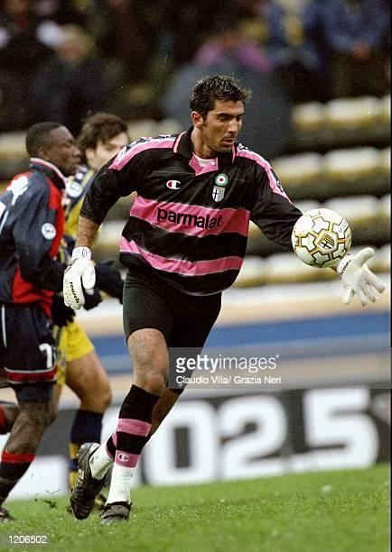 Parma keeper Gianluigi Buffon kicks upfield during the Serie A match against Cagliari at the Stadio Tardini in Parma Italy Mandatory Credit Claudio...