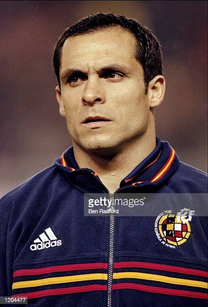 Portrait of Sergi Barjuan of Spain lining up to face Brazil in the International Friendly at the Estadio Balaidos in Vigo Spain The game ended...
