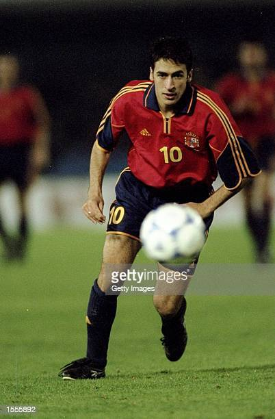 Raul of Spain in action during the International Friendly against Brazil played at the Estadio Balaidos in Vigo Spain The game finished in a 00 draw...